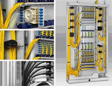 Установка шкафов распределения, лотков и монтаж оконечного оборудования в домах радиорелейки и связи